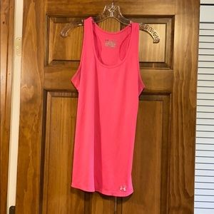 Bright Pink Under Armour heat gear fitted tank top